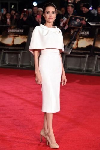 Angelina jolie white cape dress