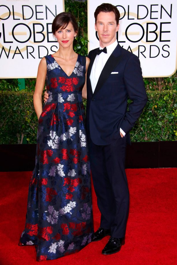 Benedict Cumberbatch and Sophie Hunter  as the best couples on the red carpet at the Golden Globes 2015