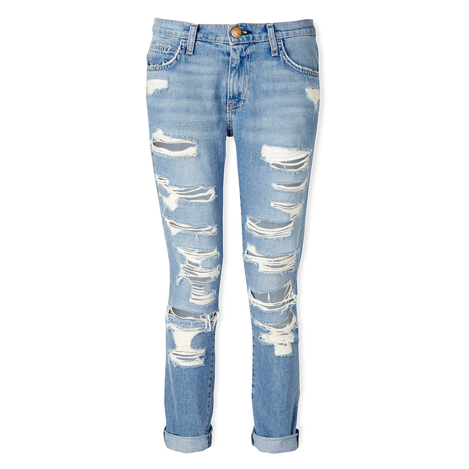 Current/Elliott The Fling Slim Fit Boyfriend Jeans - Tattered Destroy