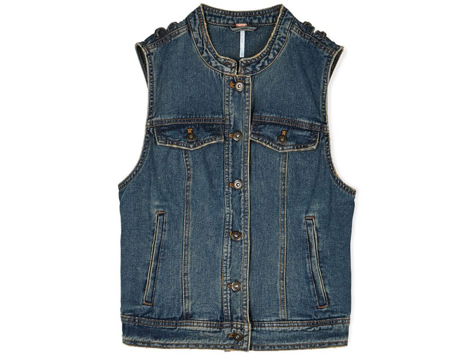 Free People Rugged Ripped Denim Lace Up Vest