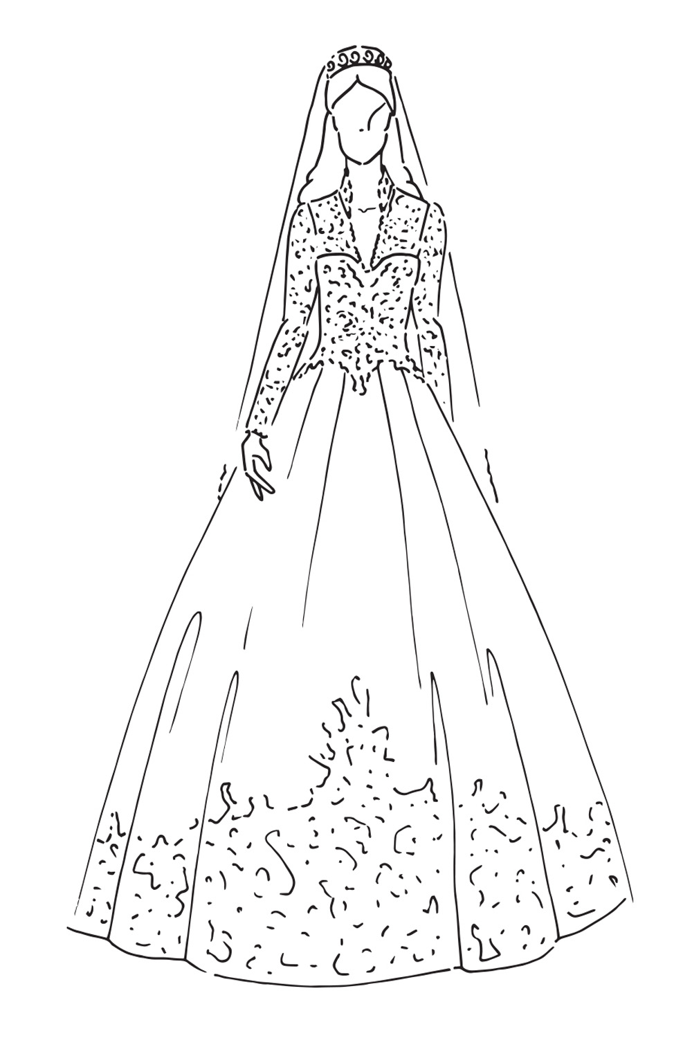 Fashion design sketches of dresses black and white roses