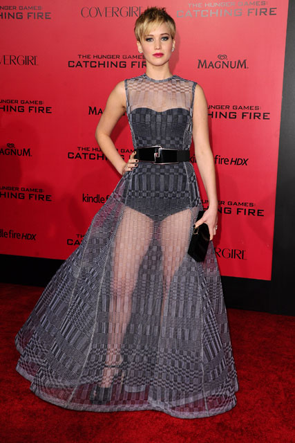 Jennifer Lawrence wears thigh-flashing Dior dress to the 'The Hunger Games: Catching Fire' LA premiere