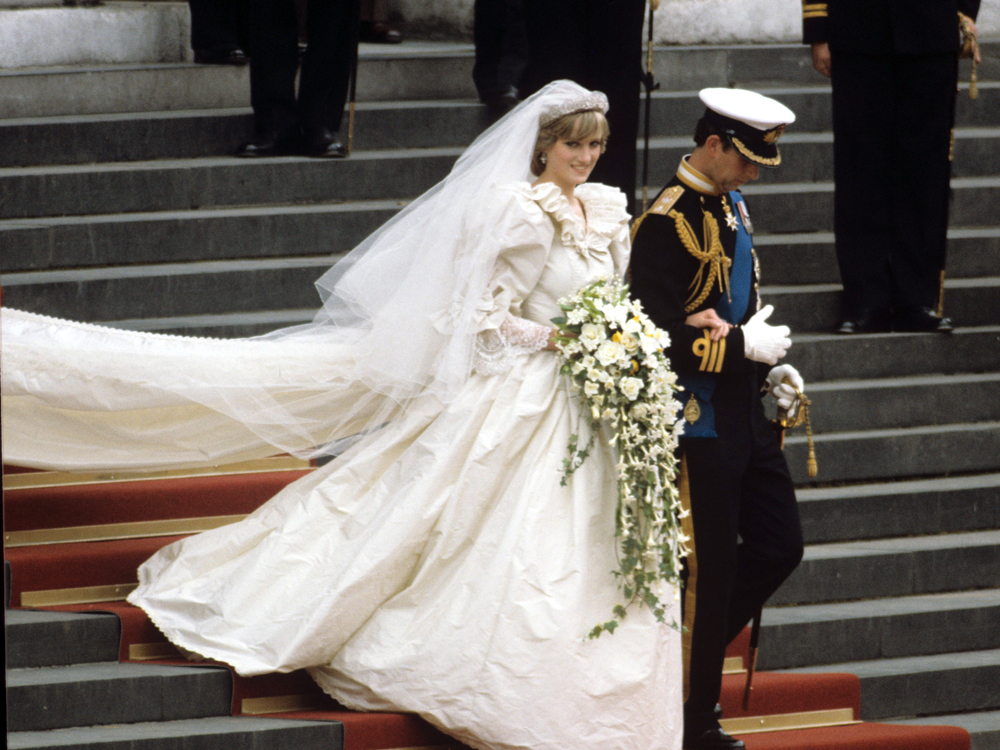 Lady Diana Spencer and Prince Charles on their wedding day