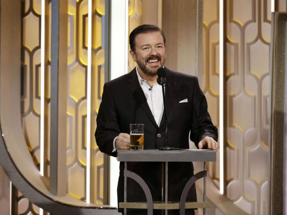 Ricky Gervais presenting at the 2016 Golden Globes