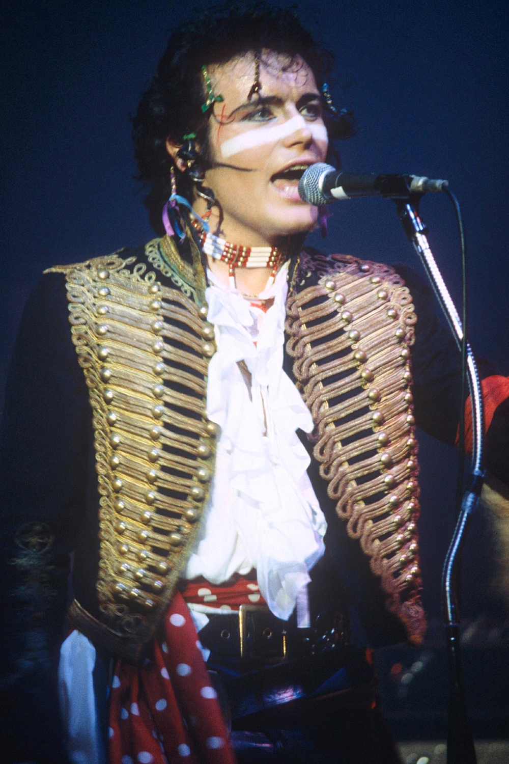 Adam Ant singing at one of his concerts