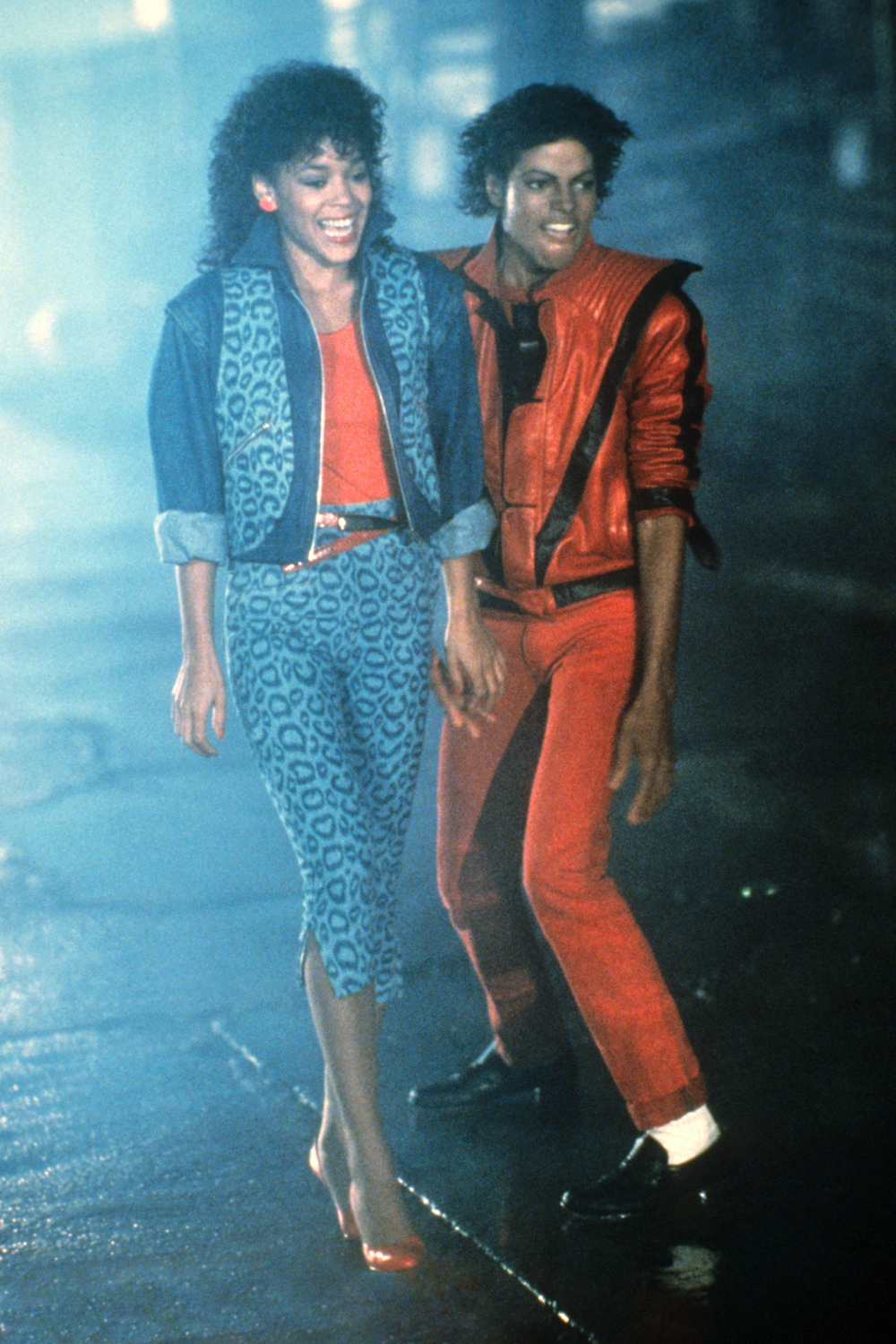 Michael Jackson in Thriller eighties fashion