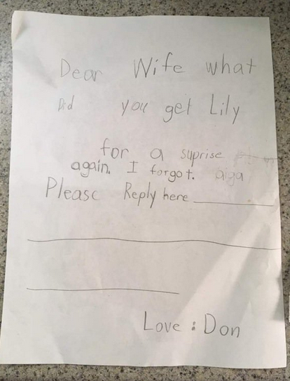 Little girl pretends to be her Dad in a fake note and it's
