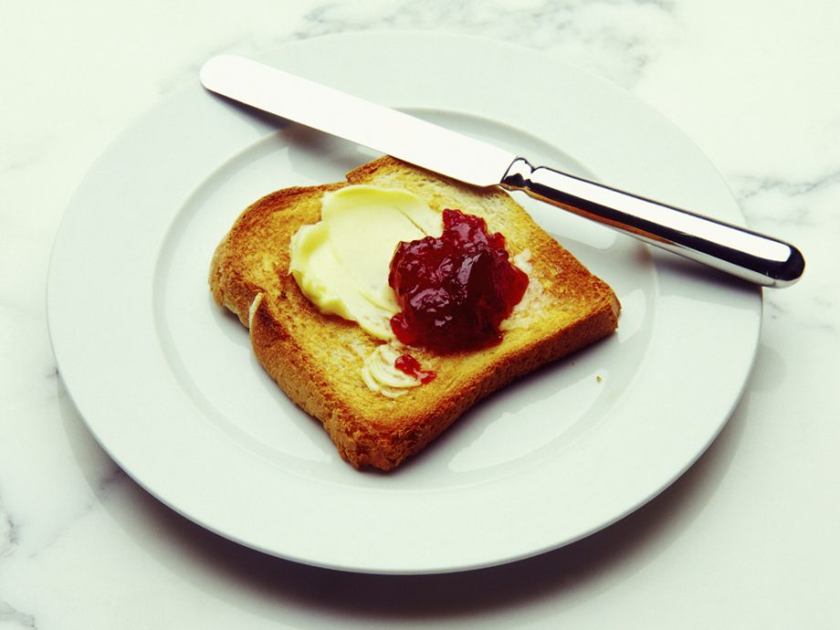 white toast with butter and jam