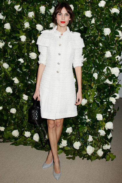 Alexa Chung wearing a white quilted box dress at MoMA's 6th Annual Film Benefit in New York