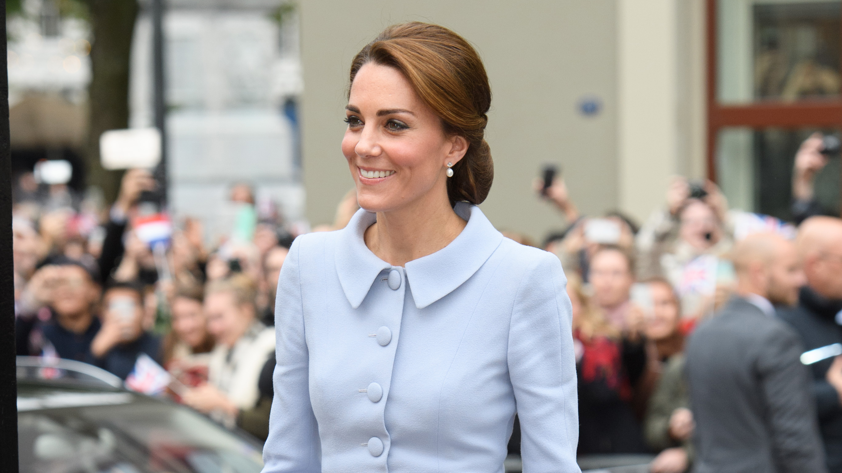 Duchess Kate trials one of AW16's kitsch accessory trends, the hairnet