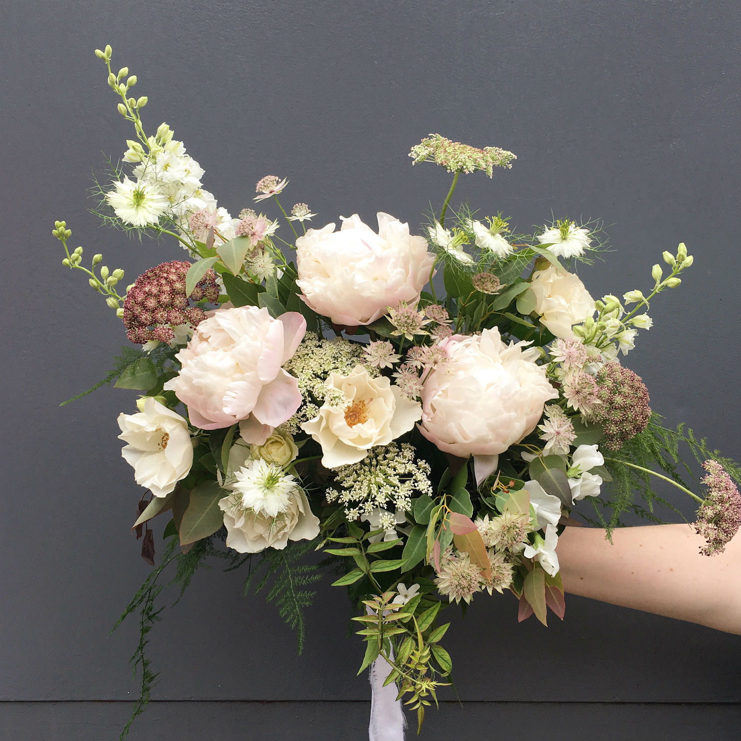 Wedding flowers ideas for your big day contains peonies dacus jasmine english roses astrantia nigella larkspur sweet pea eucalyptus asparagus fern perfect for early summer izmirmasajfo