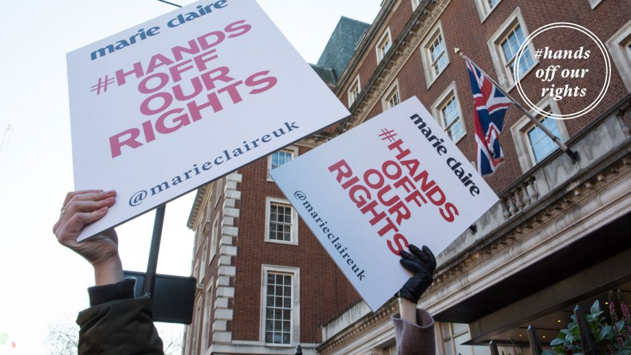 Hands off our rights, banners