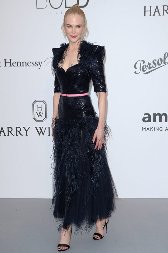 97621a066 Meanwhile Nicole Kidman, who's been impressing us on the red carpet so far,  shimmered in a black Chanel frock with feathers and a delicate pink belt.