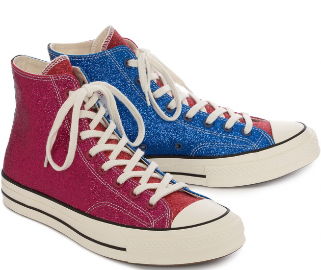 Shop now  womens pink   blue glitter chuck taylor converse for £120 from  JWANDERSON 43aae9f5f