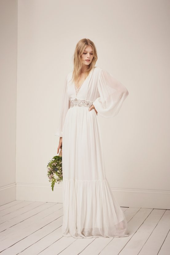 The Spring 18 Line Is A Capsule Of Delicate Gowns With Modern Twist For Brides Who Don T Necessarily Want Traditional Ballgown