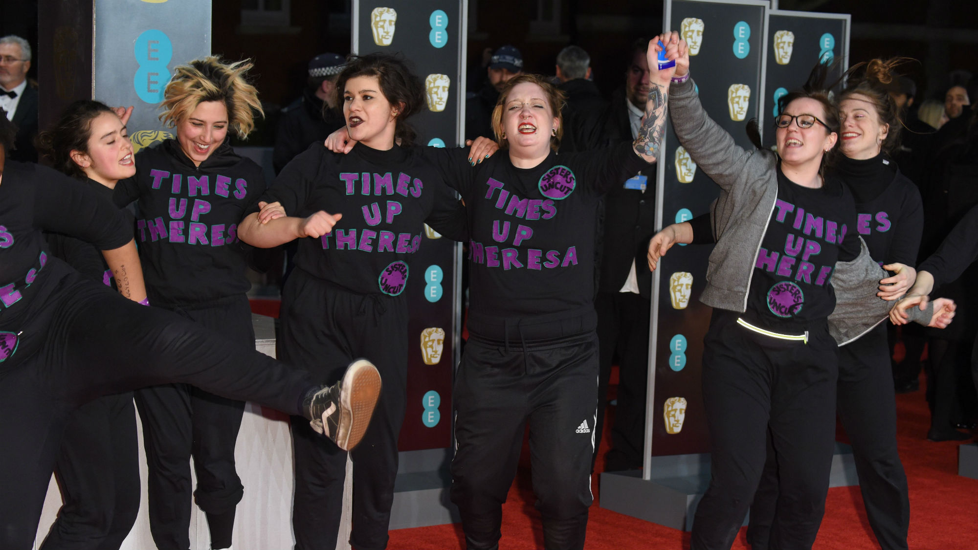 A band of feminist protestors storm the BAFTAs red carpet