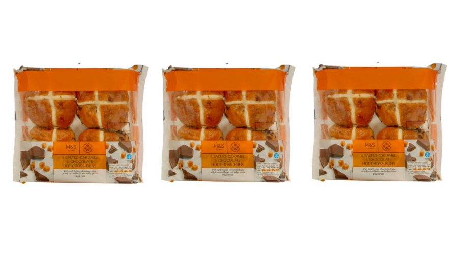 marks and spencer salted caramel hot cross buns