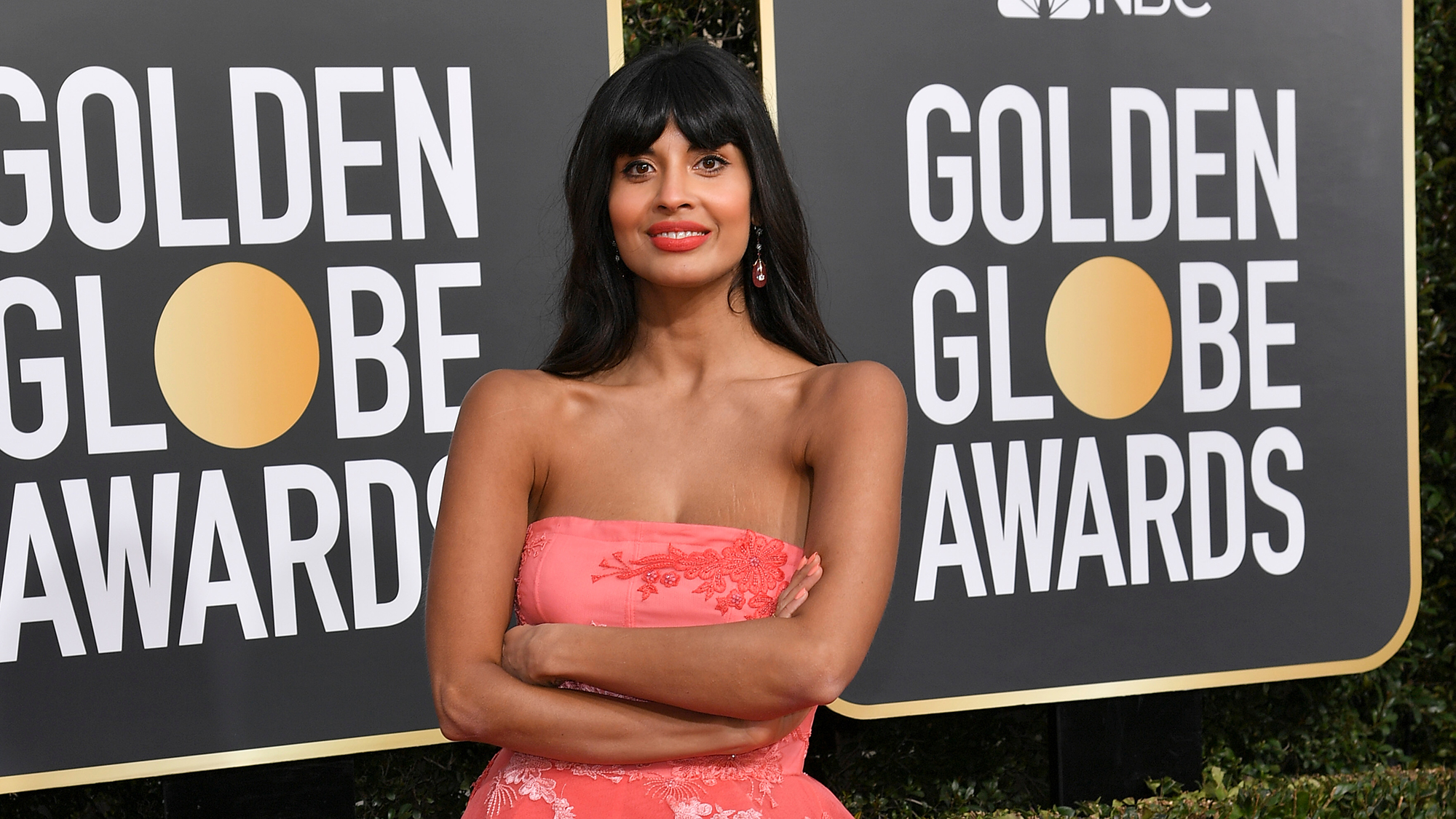 Jameela Jamil wearing jeans under her ballgown is all of us