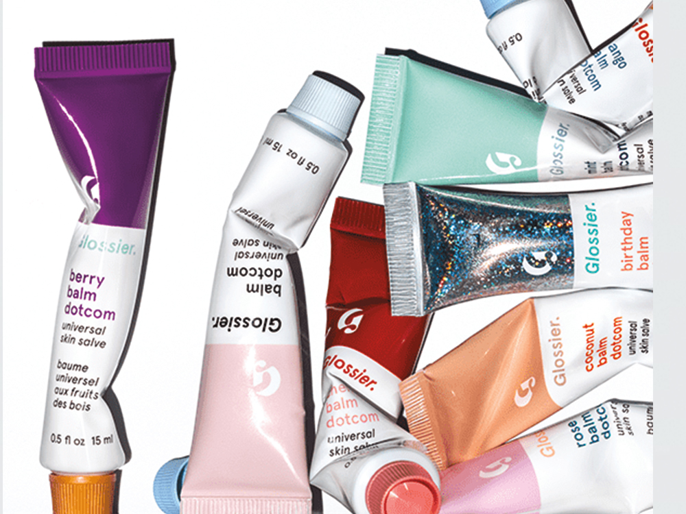 Glossier London Pop-Up Shop Balm Dotcom in Birthday and Berry, £10 each