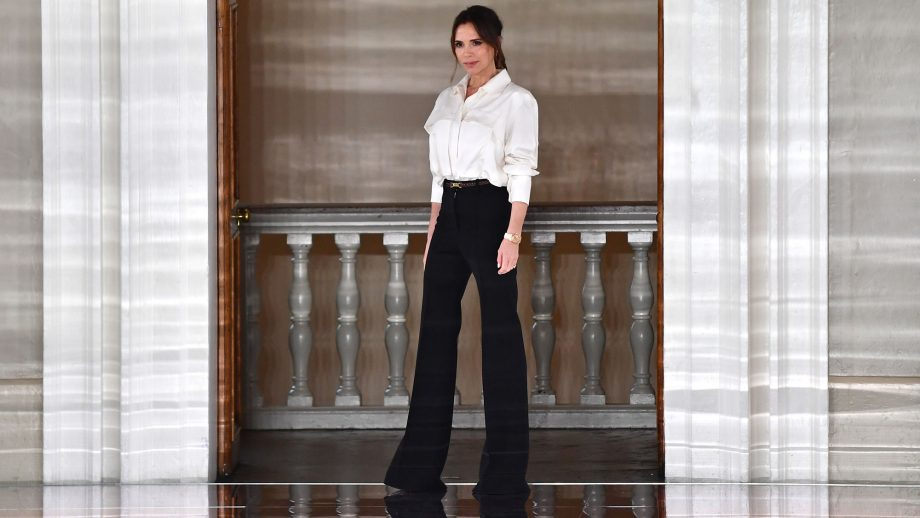 Victoria Beckham on the runway after her AW2020 Fashion Week show