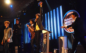The Klaxons accepting their Mercury Music Award on stage during the Mercury Prize 2007 at Grosvenor House Hotel, central London. ... 04-09-2007 ... Photo by: Matt McNeill/EMPICS Entertainment.URN:5100771