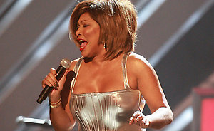 Tina Turner on stage at the 50th Annual Grammy Awards held in Los Angeles, California.