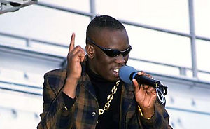 British R&B singer Mark Morrison performing on stage at the Radio One Roadshow.