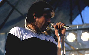 Front man of British rock band Marillion, 'Fish', during their live gig at Castle Donnington near Derby.