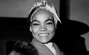 American singer, Eartha Kitt, is seen at London Airport in England, Nov. 2, 1958 to appear at a Royal Variety performance at the London Coliseum. (AP Photo)