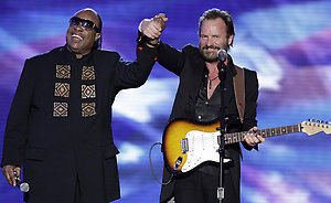 Stevie Wonder and Sting react after their performance at the Neighborhood Ball in Washington Tuesday, Jan. 20, 2009.(AP Photo/Alex Brandon)