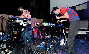 Picture shows :  American experimental music collective, Animal Collective, ( pictured  Brian Weitz (left) and Dave Portner  ) performing at Glasgow School of Art. 13th January 2009.Picture  © Drew Farrell Tel : 07721-735041.