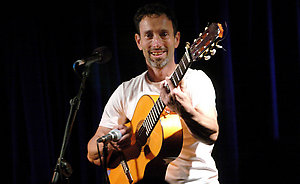 """American singer Jonathan Richman, who featured in the Hollywood film, """"There's Something About Mary"""", playing a gig at Whelans in Dublin. Ireland."""