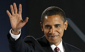 President-elect Barack Obama waves after giving his acceptance speech at Grant Park in Chicago Tuesday night, Nov. 4, 2008. (AP Photo/Pablo Martinez Monsivais)