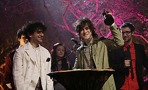 MGMT on stage collecting the award for 'Best New Band' during the Shockwaves NME Awards 2009 at the 02 Academy, Brixton, London