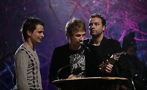 Muse on stage collecting the award for 'Best Live Band' during the Shockwaves NME Awards 2009 at the 02 Academy, Brixton, London