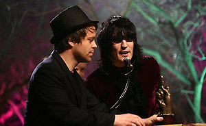 The Mighty Boosh receiving the Best Television award on stage at the Shockwaves NME Awards 2009 at the 02 Academy, Brixton, London