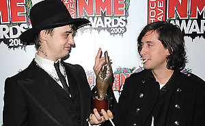 Pete Doherty (Left) with the Best Solo Artist award with Carl Barat at the Shockwaves NME Awards 2009 at the 02 Academy, Brixton, London