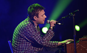 Damon Albarn on stage during the Shockwaves NME Awards 2009 at the 02 Academy, Brixton, London