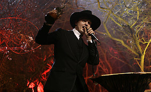Pete Doherty receiving the Best Solo Artist award on stage at the Shockwaves NME Awards 2009 at the 02 Academy, Brixton, London