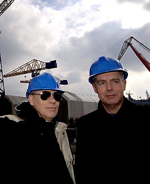 Pet Shop Boys Neil Tennant (R) and Chris Lowe look Wednesday March 15, 2006, around the Swan Hunter Shipyard in Newcastle where they will perform a specially composed soundtrack to Eisenstein's 'Battleship Potemkin' with the Northern Sinfonia Orchestra at a concert later in the year. PRESS ASSOCIATION Photo. Photo credit should read: John Giles/PA.