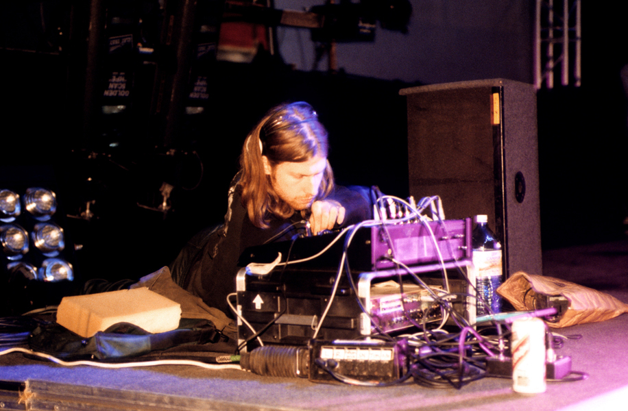 Cornish electronic music artist Richard David James, better known as Aphex Twin, performing live on stage