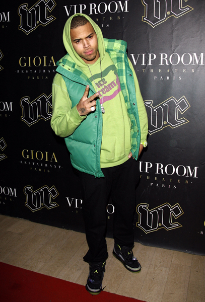 Chris Brown arriving at the Vip Room, after his Parisian performance at Bercy. Paris, France, on January 29, 2009.
