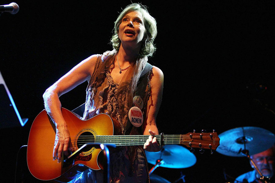 Nanci Griffith performs onstage at the Shepherds Bush Empire, London.