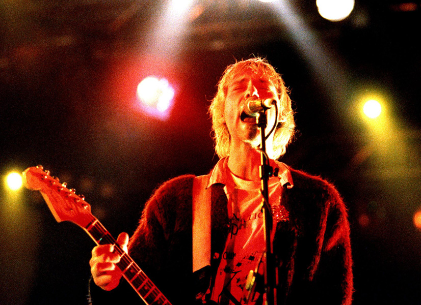 """PA NEWS PHOTO/POLFOTO : UK USE ONLY 1994 A LIBRARY PHOTO OF KURT COBAIN, FORMER SINGER IN ROCKBAND """"NIRVANA"""" AT A CONCERT IN COPENHAGEN, DENMARK"""