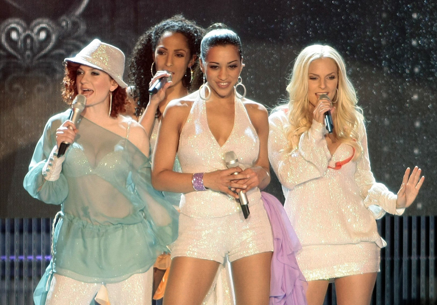 The band 'No Angels' with Lucy Diakowska (L-R), Jessica Wahls, Nadja Benaissa und Sandy Moelling performs during the rehearsal of the German preliminaries for the Eurovision Song Contest, in Hamburg, Germany, 5 March 2008.