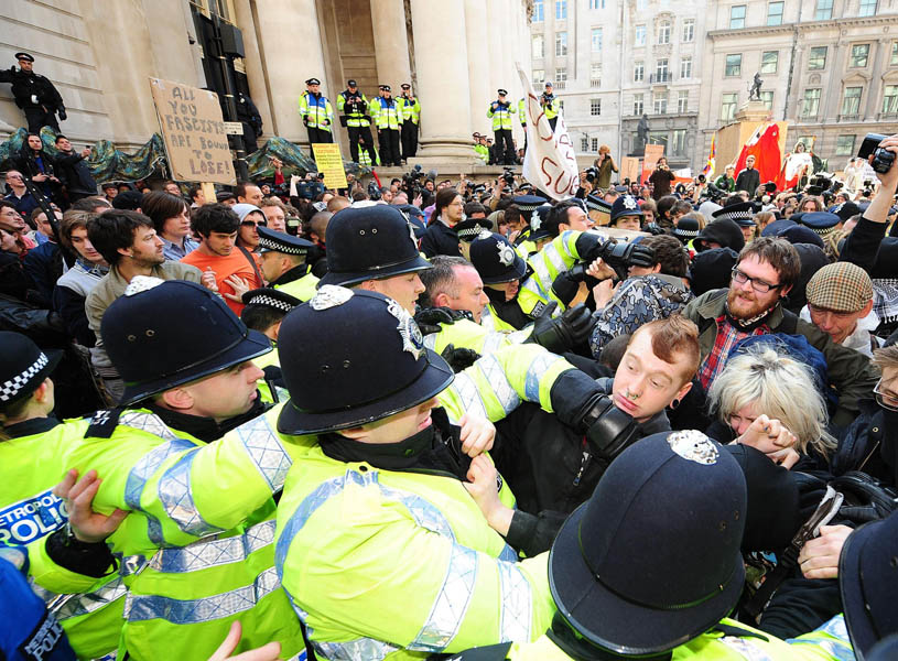Protesters outside the Bank of England, during the G20 protests in the centre of London.