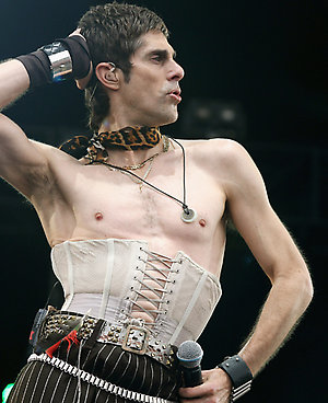 EDITORIAL USE ONLY. NO MERCHANDISING.  Perry Farrell and his band Satellite Party perform on stage at the O2 Wireless Festival at Hyde Park, London.
