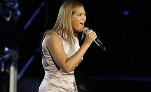 Beyonce sings for President Barack Obama and first lady Michelle Obama at the Neighborhood Inaugural Ballin Washington, Tuesday, Jan. 20, 2009.  (AP Photo/Alex Brandon)