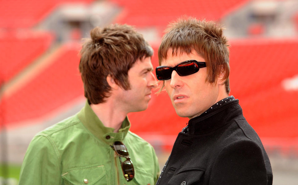 Embargoed to 2000 Monday March 2 File photo dated 16/10/2008 of Oasis band members Noel Gallagher and Liam Gallagher as the band will headline this year's V Festival along with The Killers,  it was announced today.