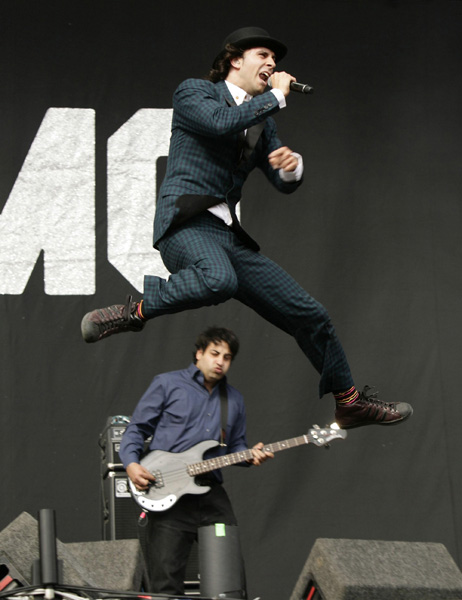 Paul Smith (above) and Archis Tiku of Maximo Park perform at the V Festival in Hylands Park, Chelmsford, Essex.